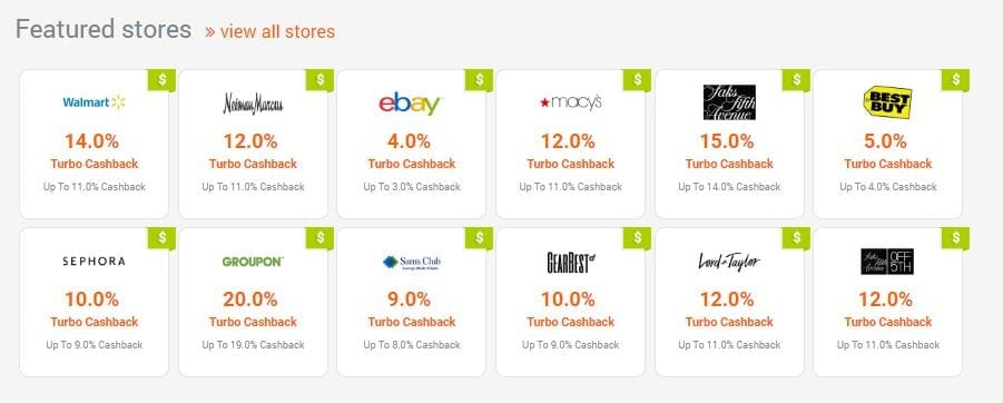 12 online stores and their cashback rates