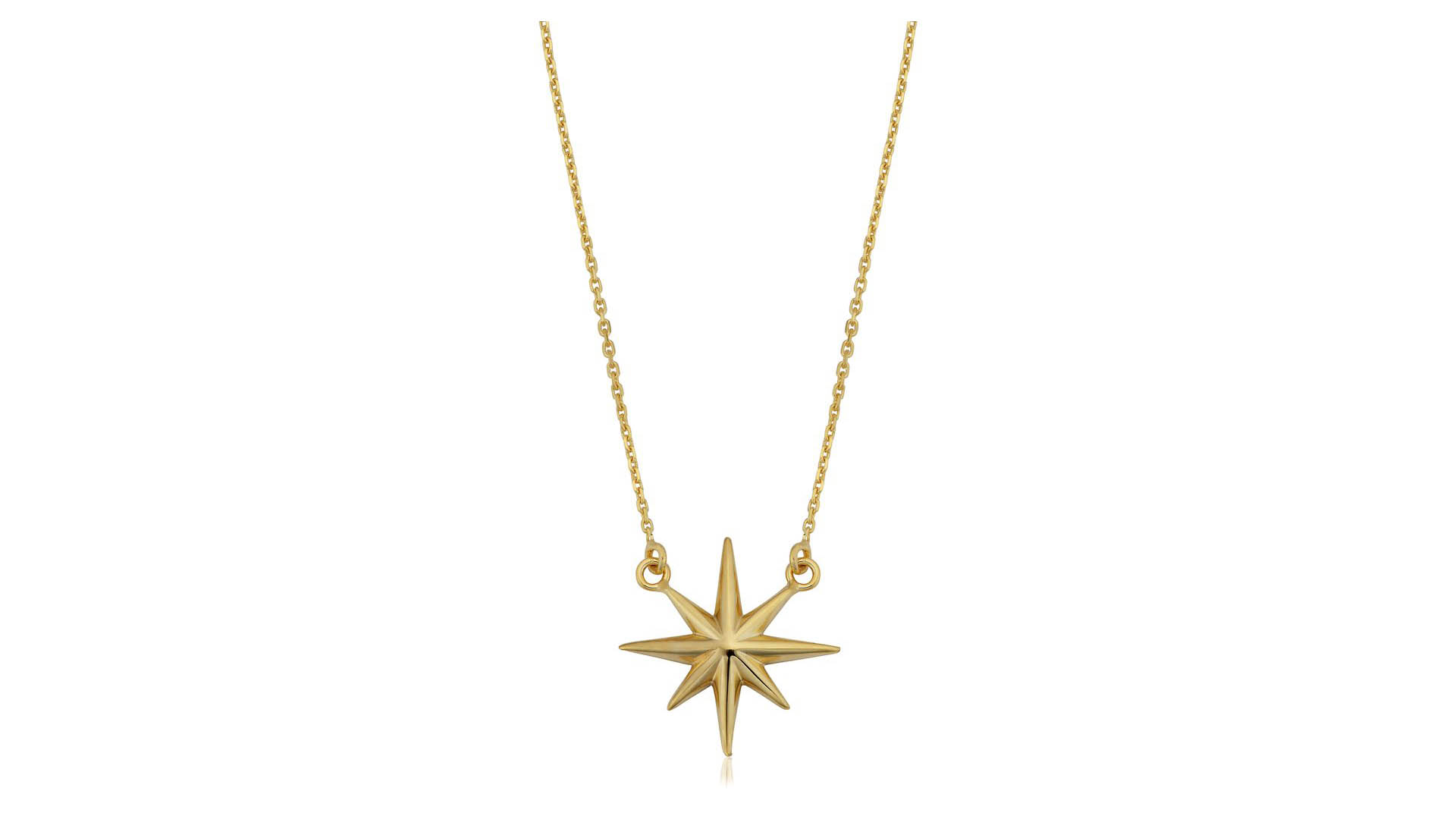 Beautiful Jewelry On Mother's Day Sale - 10k Yellow Gold North Star Pendant Necklace 18