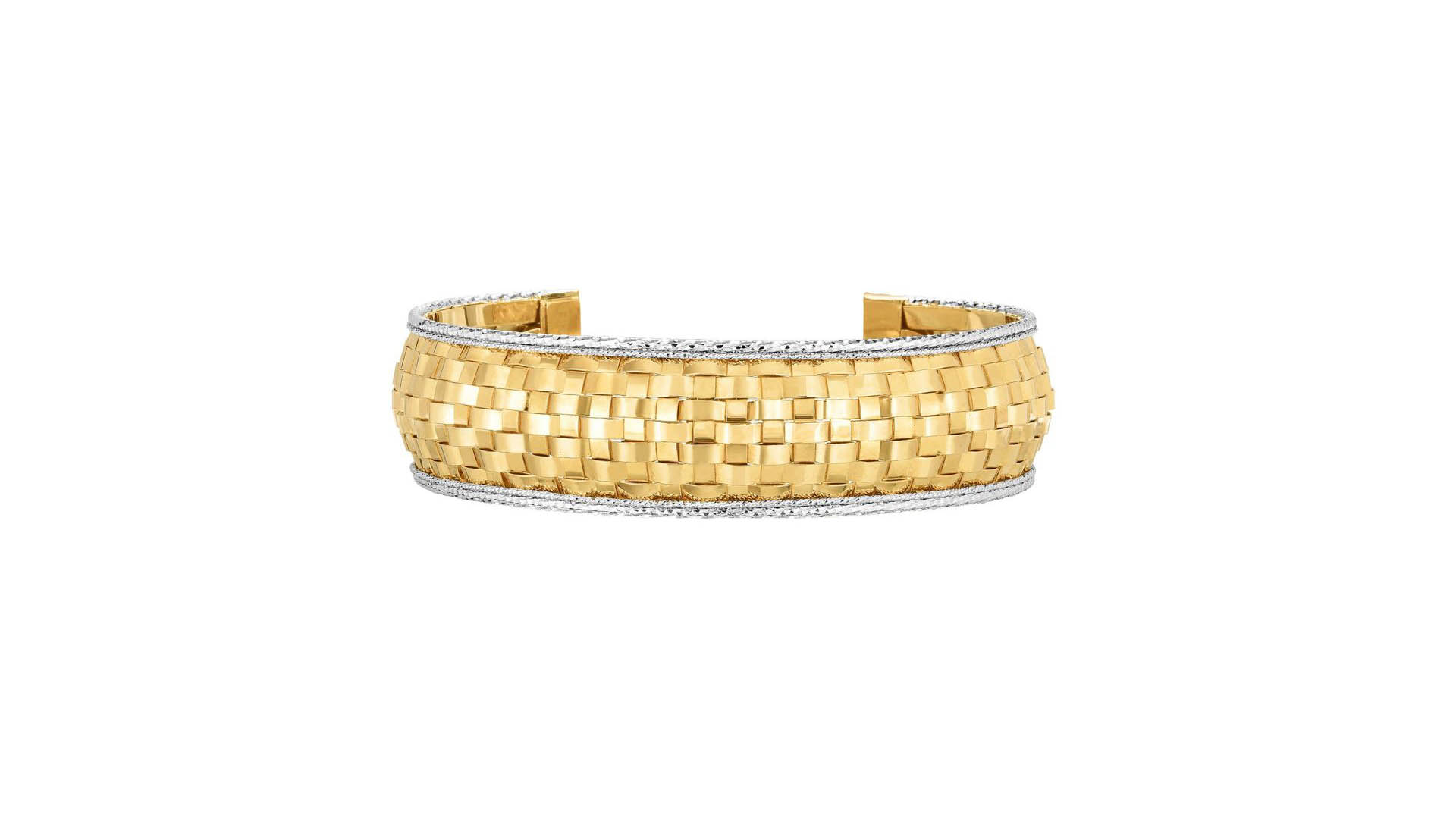 Beautiful Jewelry On Mother's Day Sale - 14k Yellow And White Gold Bangle Bracelet