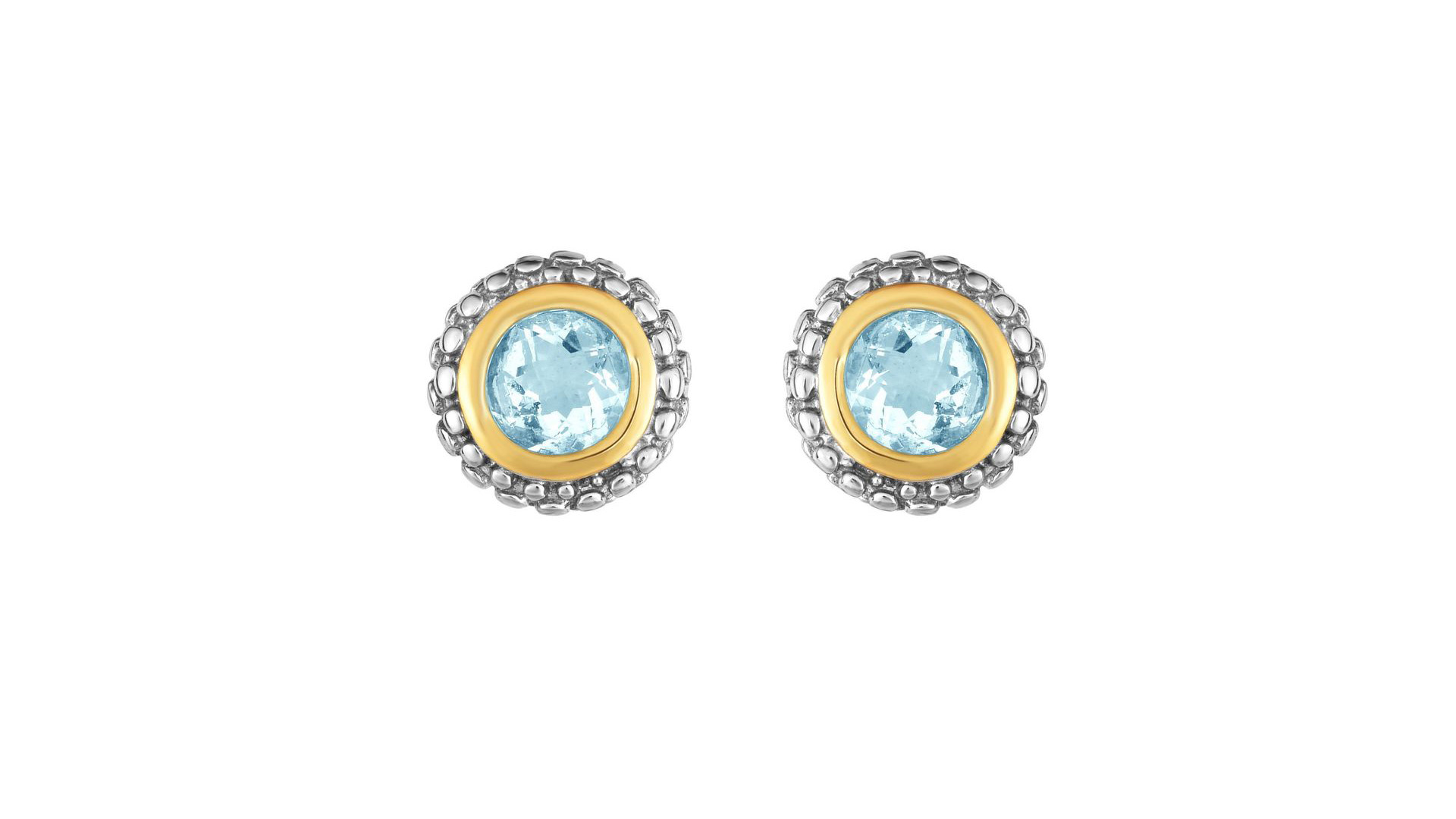 Beautiful Jewelry On Mother's Day Sale - 18k Gold And Sterling Silver Aquamarine Stud Earrings