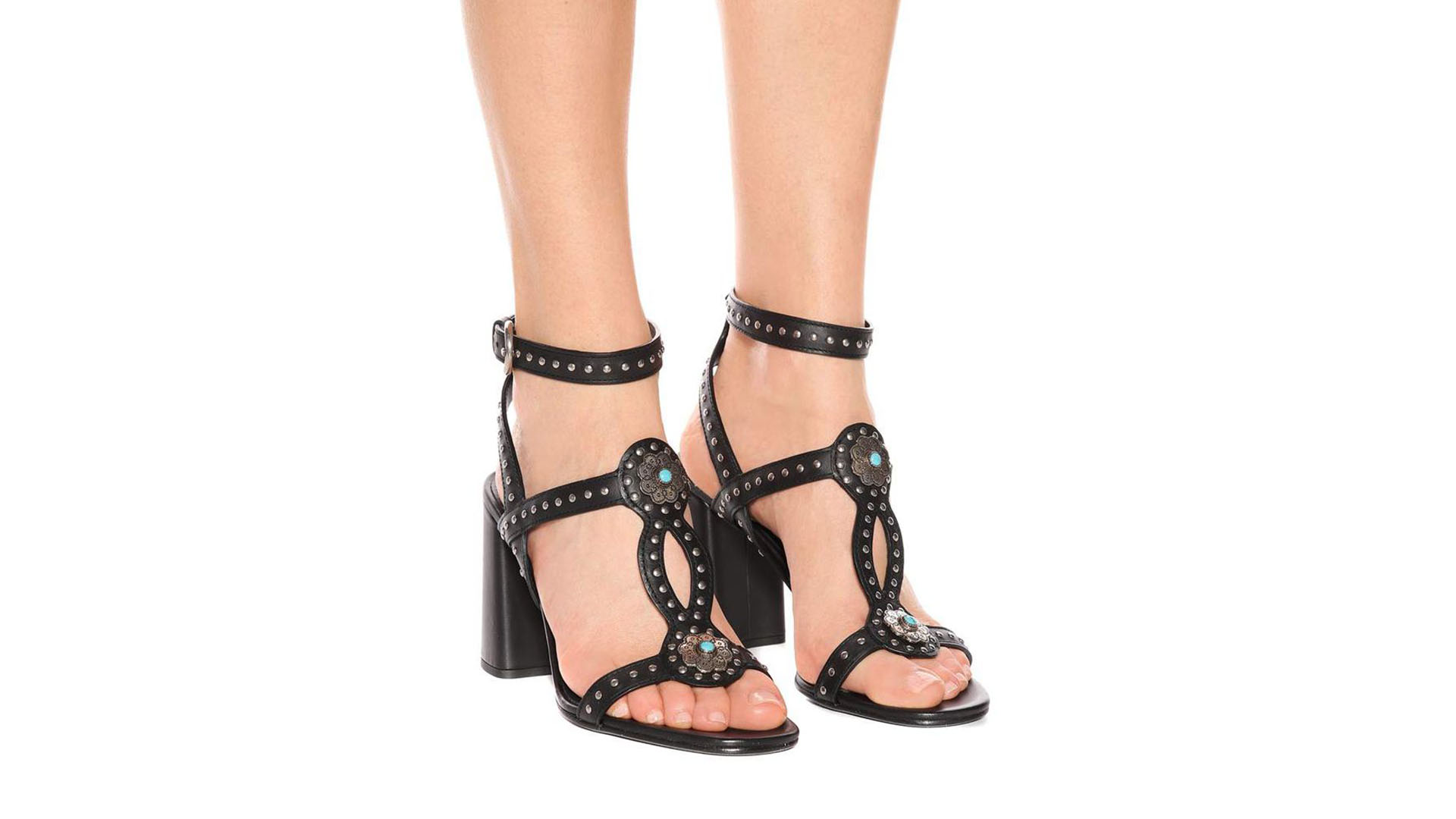 Prada Designer Shoes Black Embellished Ankle Strap Sandals Over 50% OFF