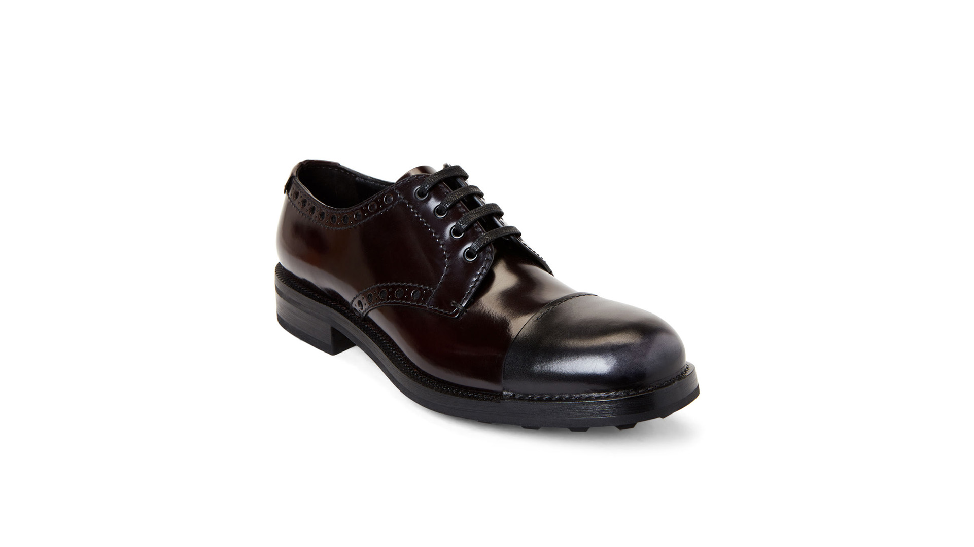 Prada Designer Shoes Bordeaux Brogue Leather Derby Shoes