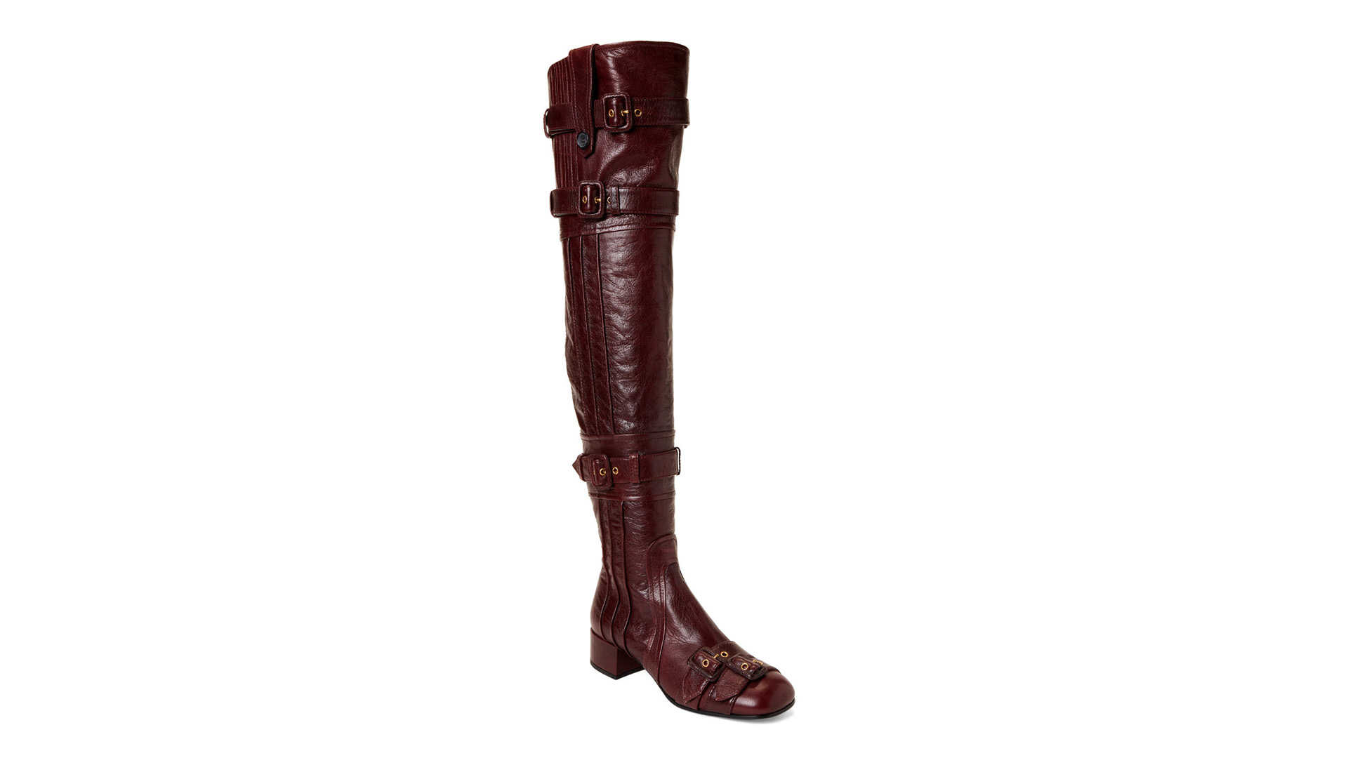 Prada Designer Shoes Burgundy Buckle Accent Leather Over The Knee Boots Over 50% OFF