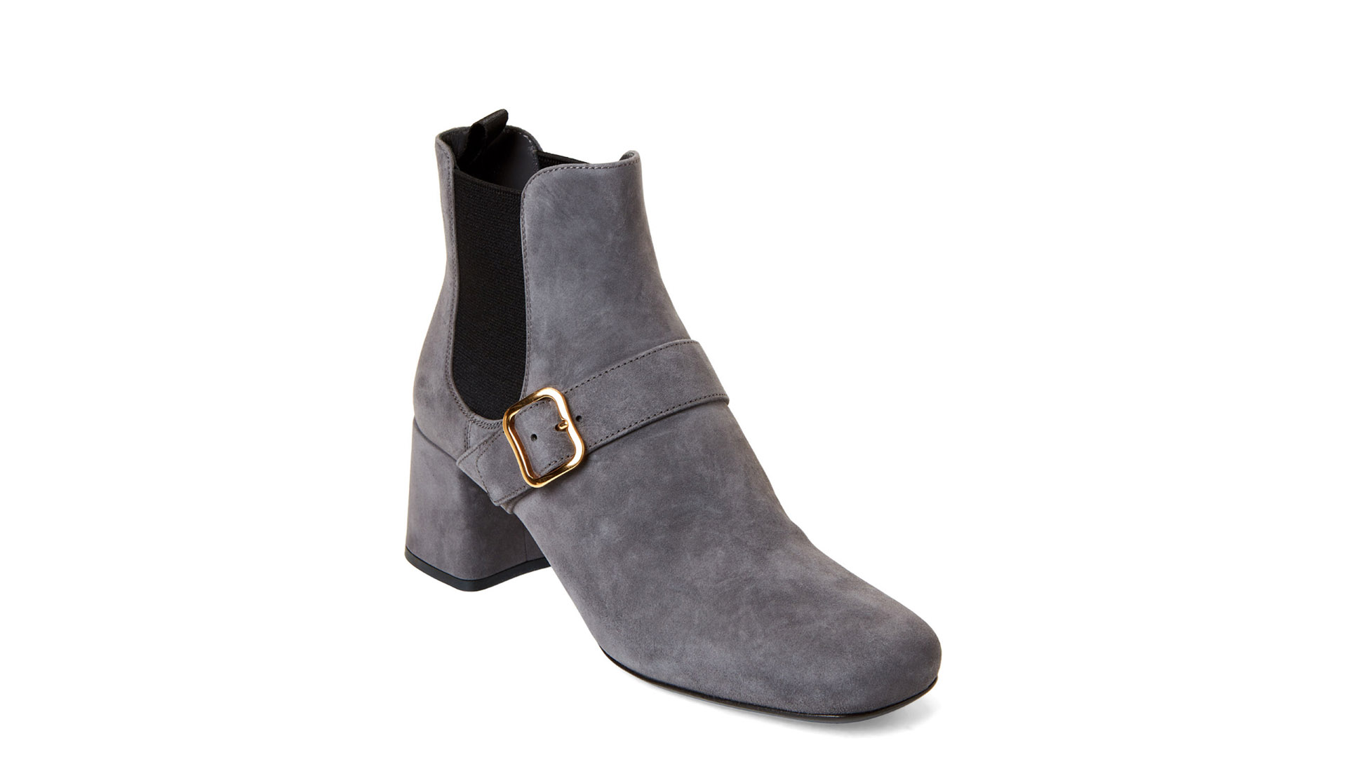 Prada Designer Shoes Grey Black Buckle Accent Suede Boots Over 50% OFF