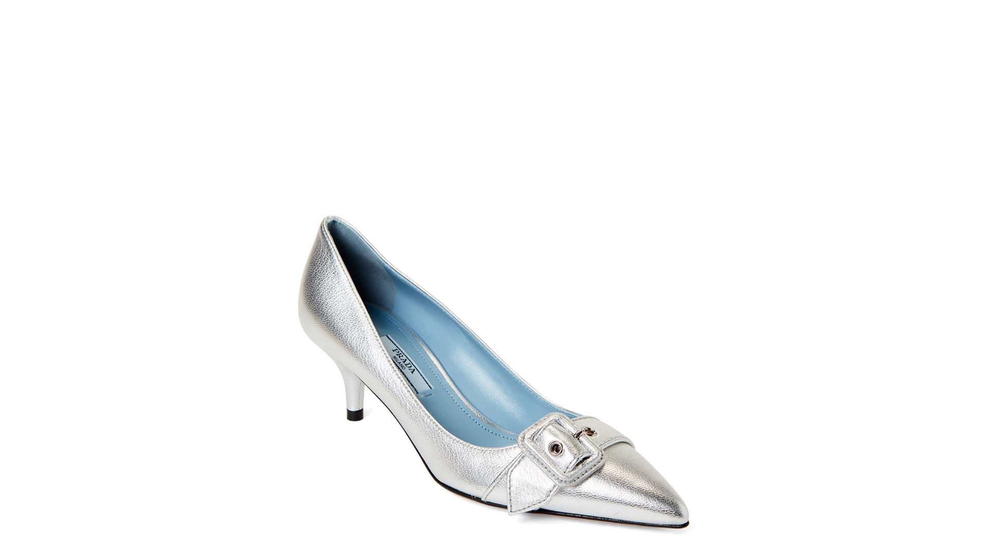 Prada Designer Shoes Silver Buckle Leather Pumps