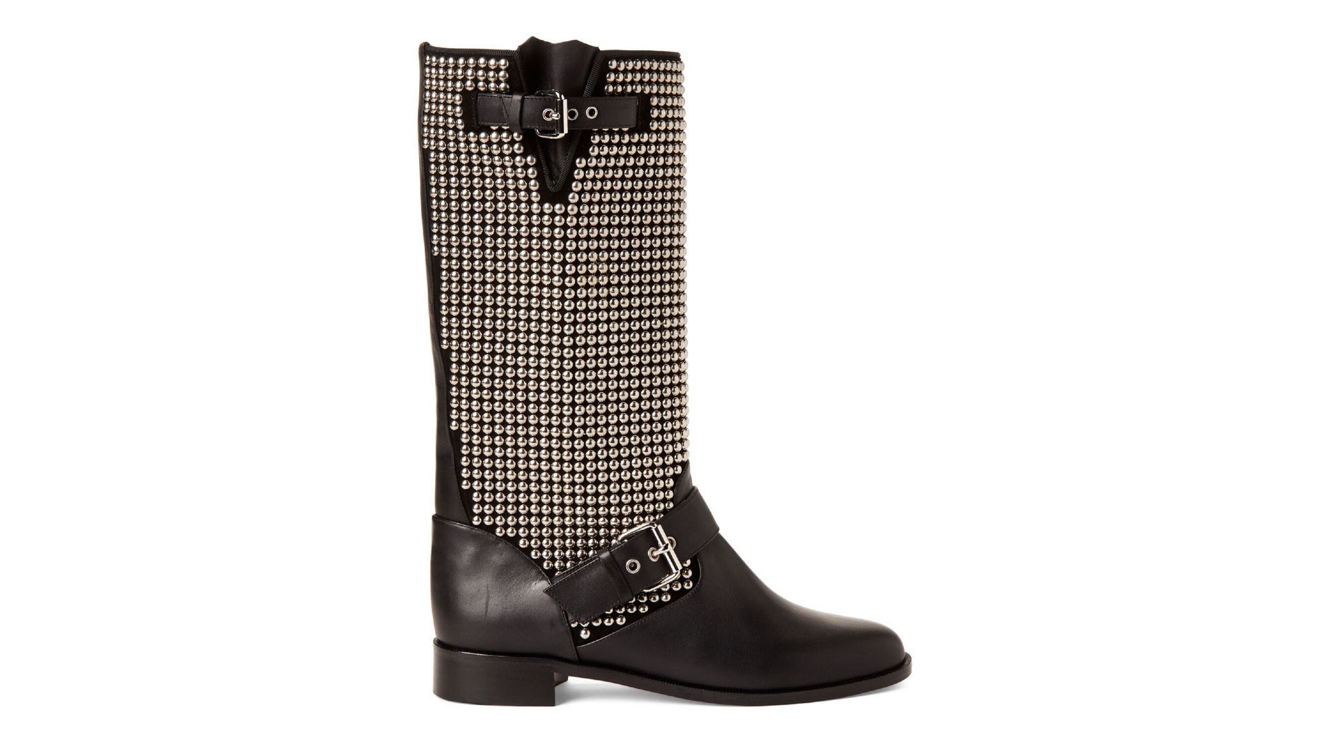 Black Studded Moto Mid Calf Boots