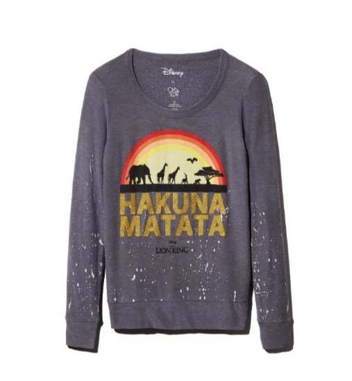 Incredible Lion King Editorial at Bloomingdale's CHASER x Disney Hakuna Matata Sweatshirt