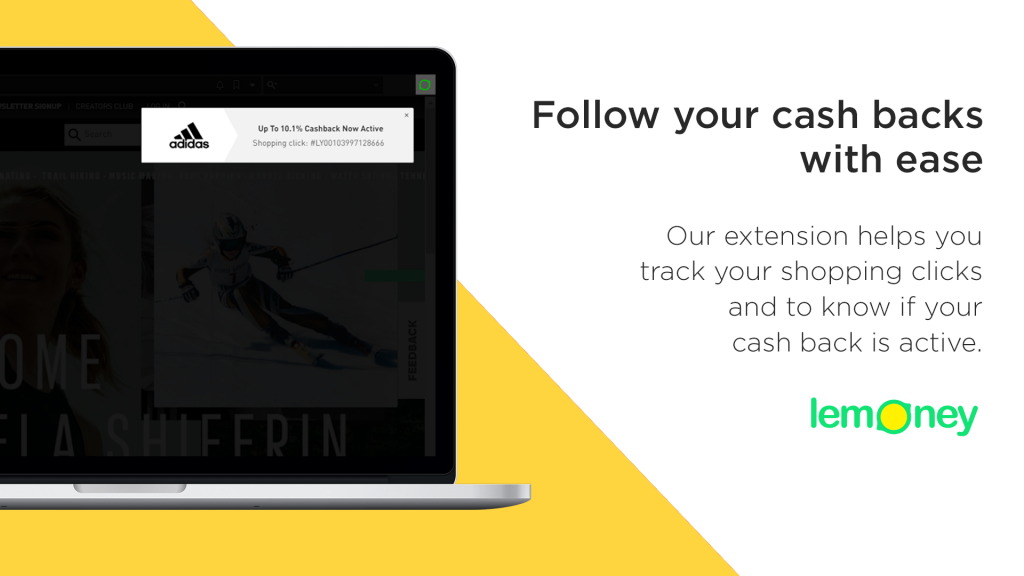 Lemoney Cash Back Extension - Step 1