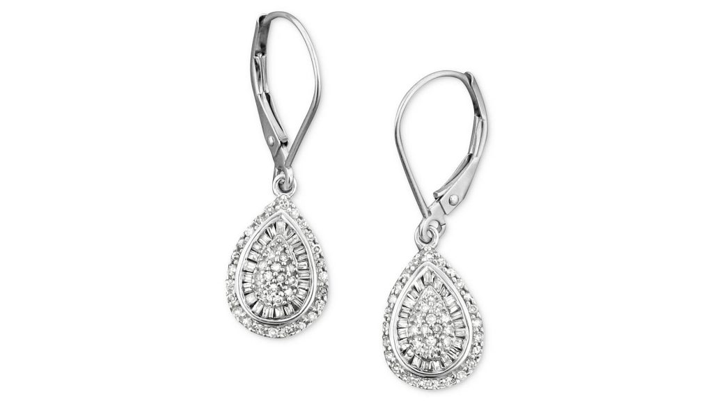 Macy's Jewelry Sale - Wrapped In Love Diamond Teardrop Earrings in 14k White Gold
