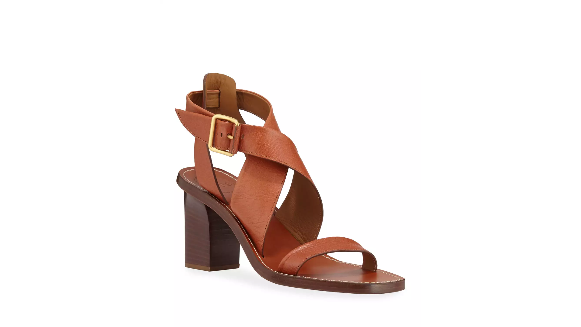 Neiman Marcus New Sale Chloe Virginia Strappy Leather Block-Heel Sandals