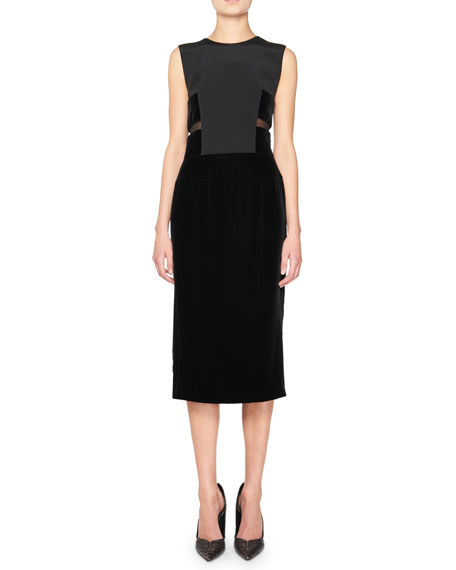 Sleeveless Velvet & Crepe Combo Dress