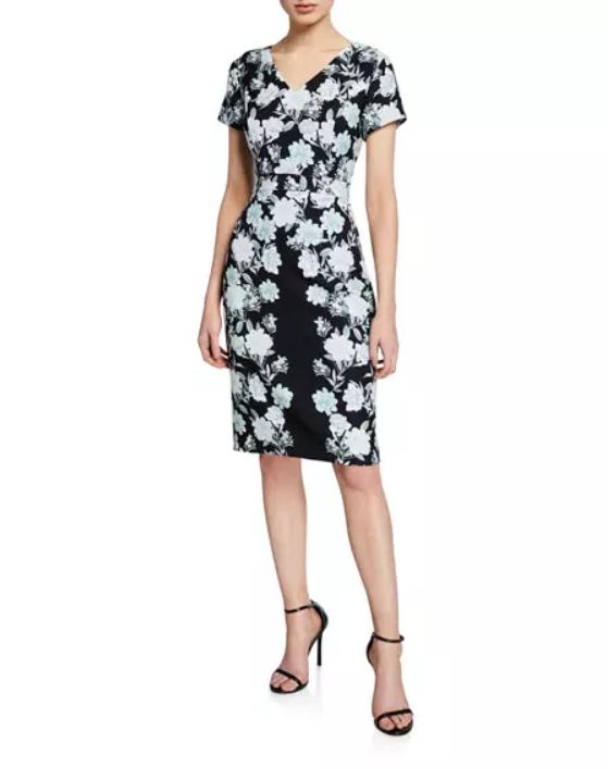 Neiman Last Call Floral-Print Sheath Dress