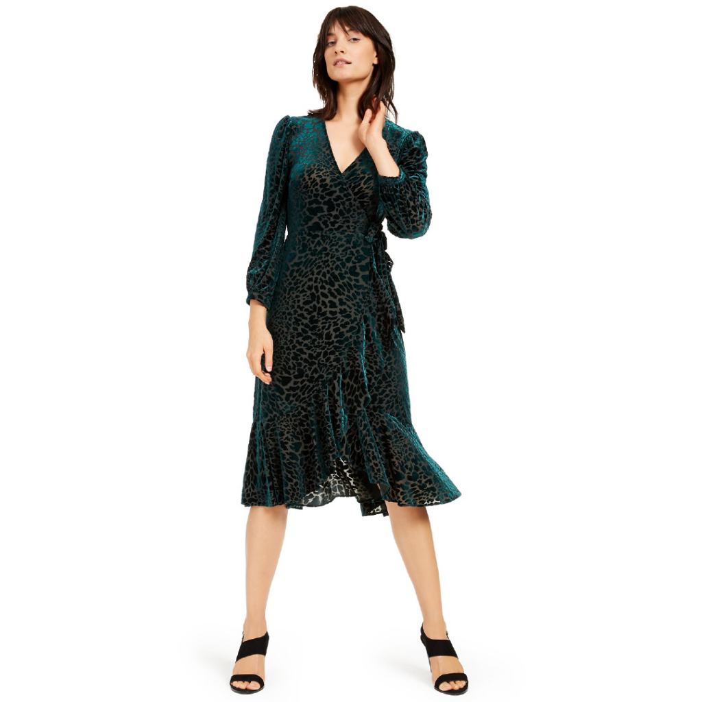 macy's fall coupons Calvin Klein Burnout Velvet Animal-Print Wrap Dress