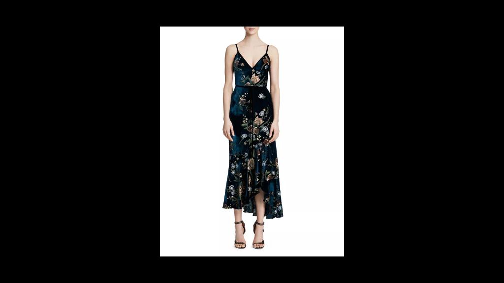 MARCHESA NOTTE Ruffled & Embroidered Velvet-Detail Midi Dress
