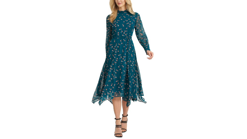 Macy's Sale: DKNY Tie-Belted Handkerchief-Hem Dress