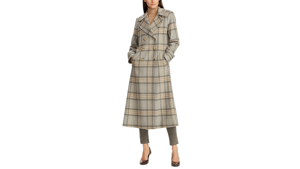 Macy's Sale:  Lauren Ralph Lauren Plaid Double-Breasted Maxi Coat