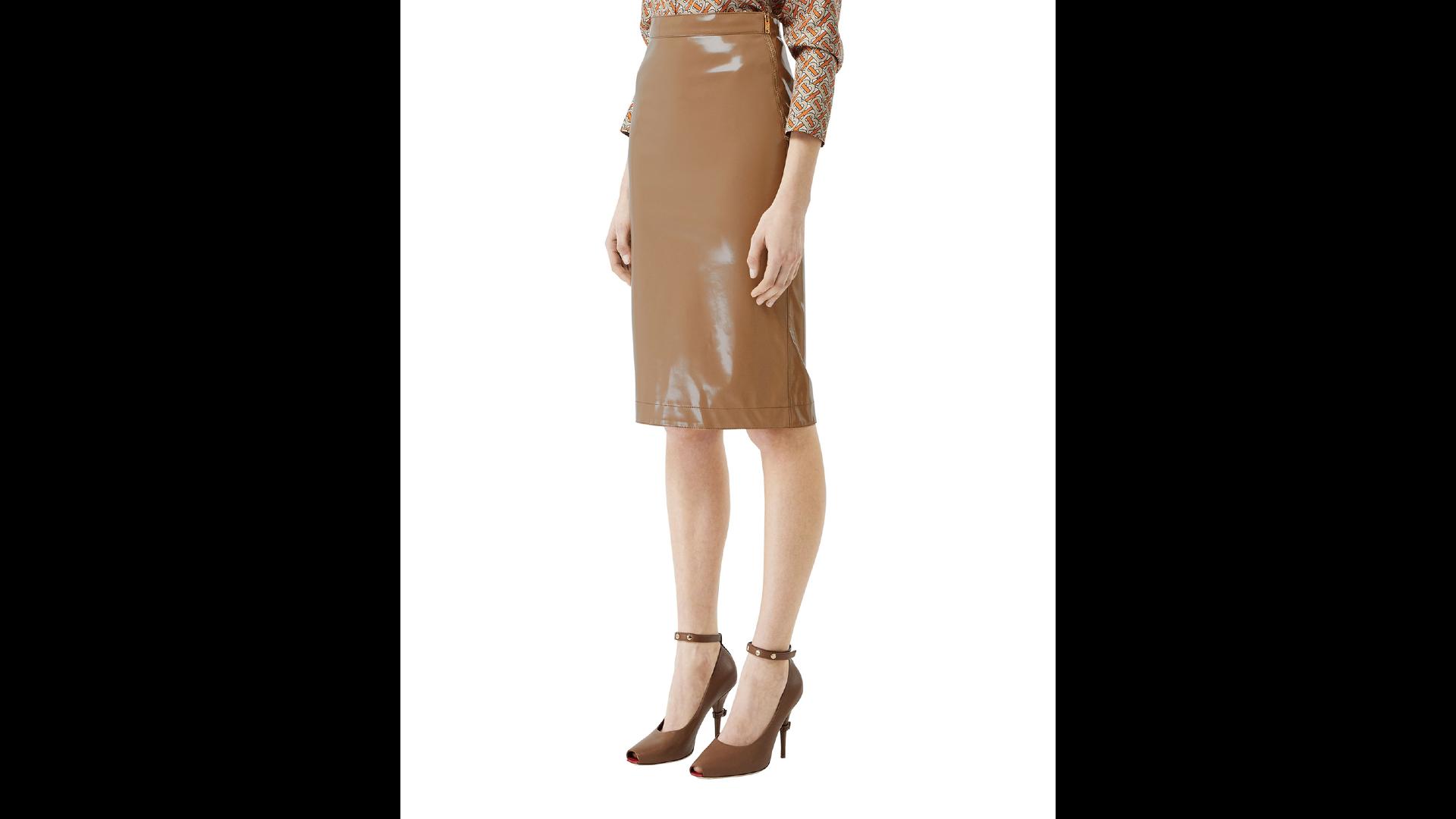 Neiman Marcus Sale Burberry Slim Vinyl Side-Zip Skirt