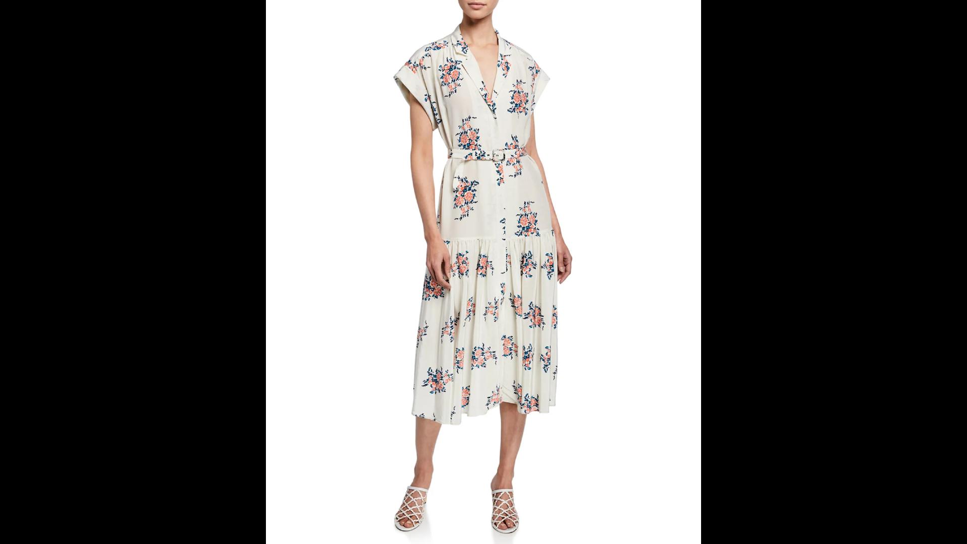 Veronica Beard Meagan Floral Dropped-Waist Midi Dress
