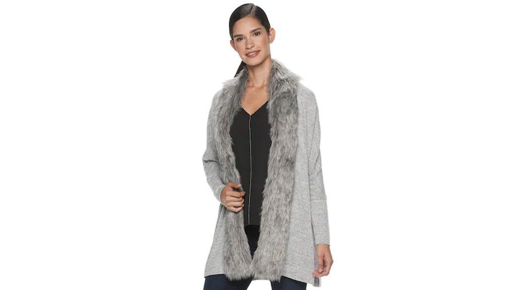 Buy Jennifer Lopez Collection and get UP TO 15% Kohl's Cash Back - Jennifer Lopez Faux-Fur Trim Completer Cardigan